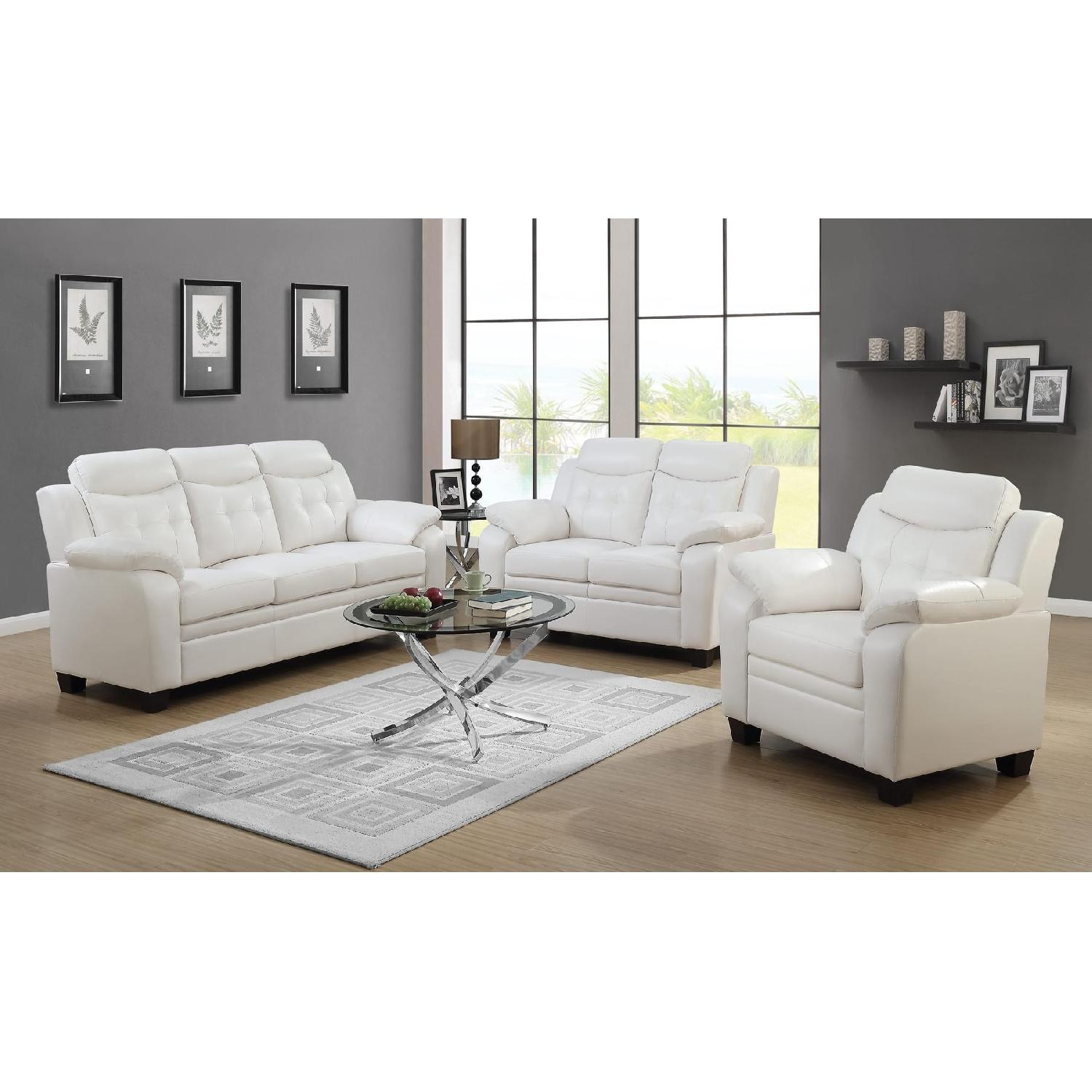 Casual Style Chair in White Leatherette w/ Arm & Headrests