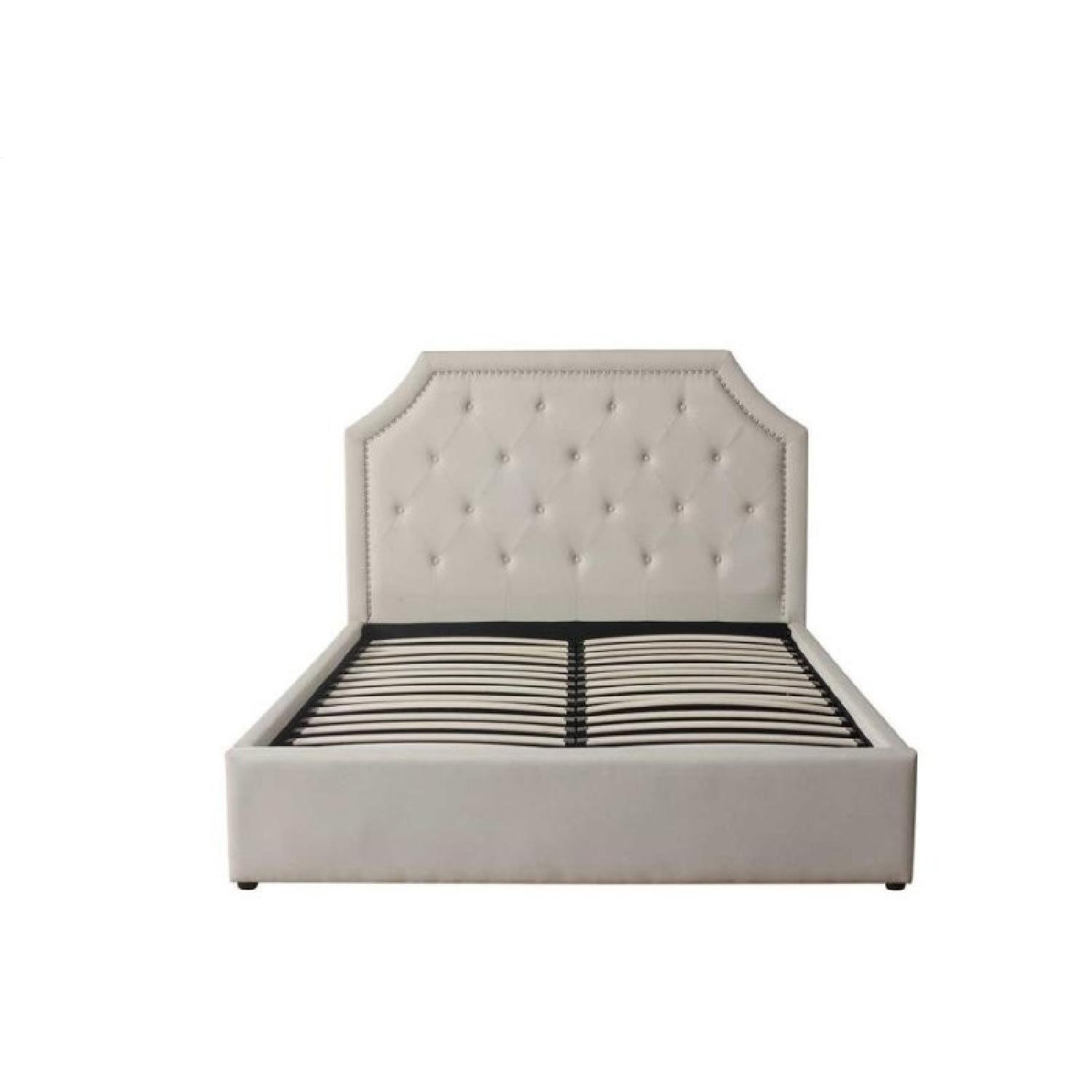 Full Size Bed in Beige Fabric Upholstery w/ Lift-Up Storage
