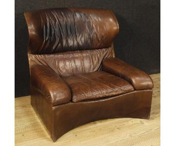 Saporiti Italia 20th Century Leather Italian Design Armchair