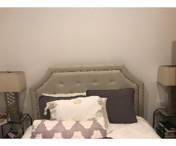 Andover Mills Sand Upholstered Bed w/ Headboard