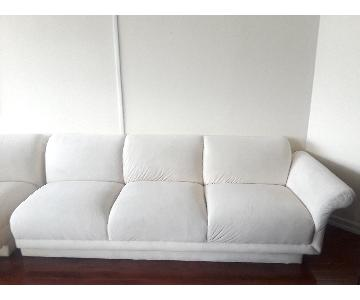 Modern Microfiber Sectional Sofa w/ Rounded Chaise