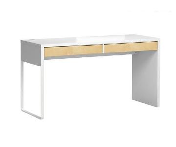 Ikea Micke White Desk w/ Wood Panel Drawers