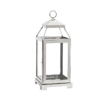Pottery Barn Medium Malta Lantern w/ Silver Finish