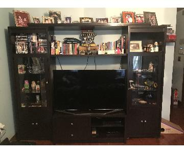 Raymour & Flanigan Wood Wall Unit w/ Glass Doors