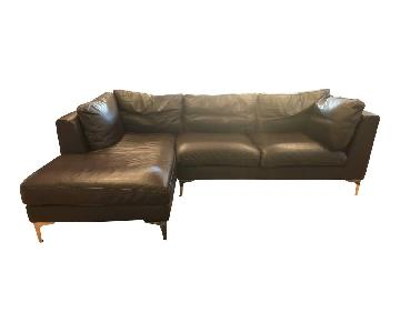 Design Within Reach Brown Leather Sectional Sofa