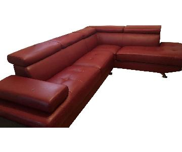 Red Leather 3-Piece Sectional Sofa