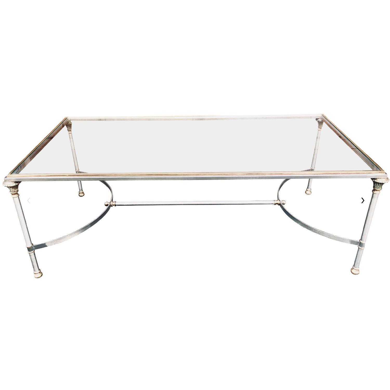 Maison Jansen Style Neoclassical Steel & Brass Coffee Table