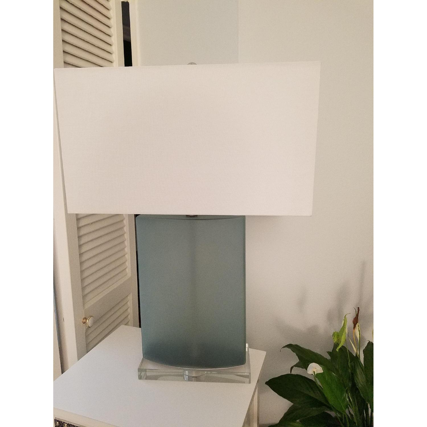 Frosted Blue Glass Table Lamp