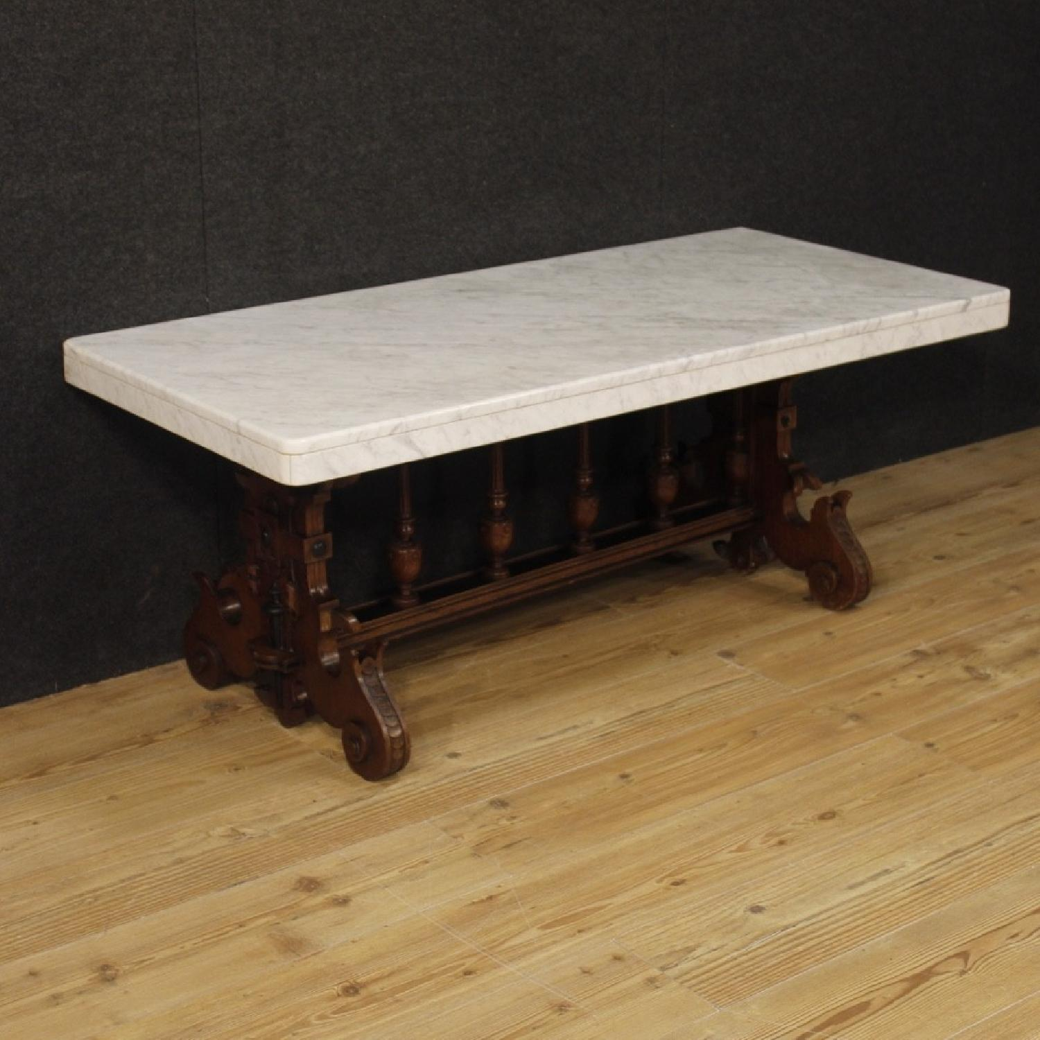Oak Wood Marble Top Dutch Renaissance Style Coffee Table