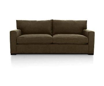 Crate & Barrel Brown Velvet Sofa & Ottoman