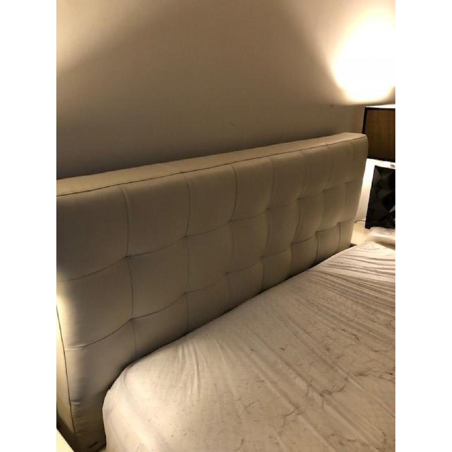 West Elm Leather Grid Tufted Queen Headboard