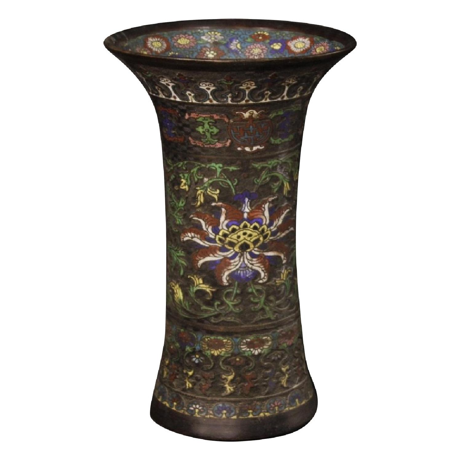 19th Century 1880 Painted Bronze Cloisonn Chinese Vases