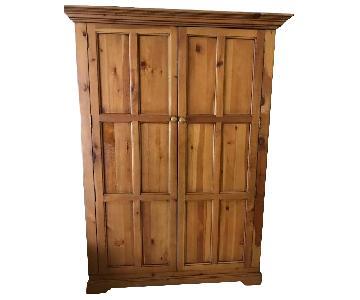 Crate & Barrel Pine Media/Office Armoire