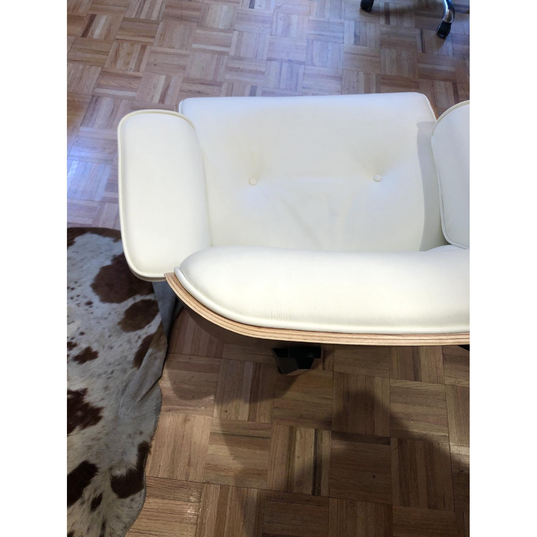 White Italian Leather Eames Lounge Chair Replica