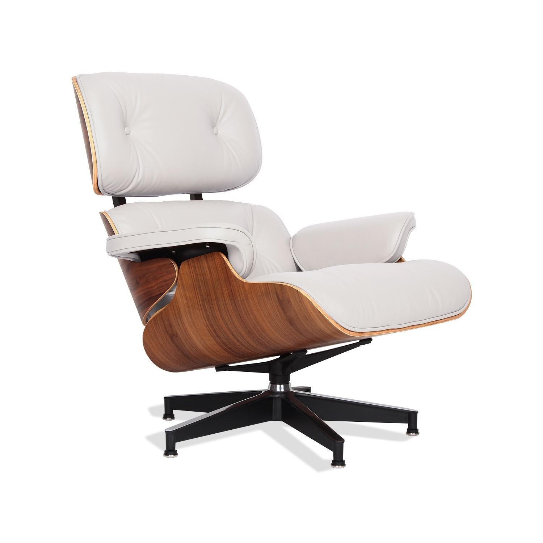 White Italian Leather Eames Lounge Chair Replica ...