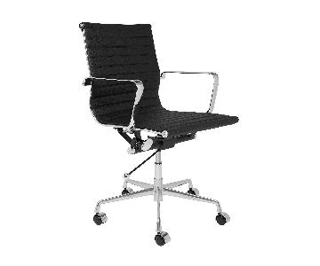 Mid Back Eames Style Ribbed Management Leather Office Chair