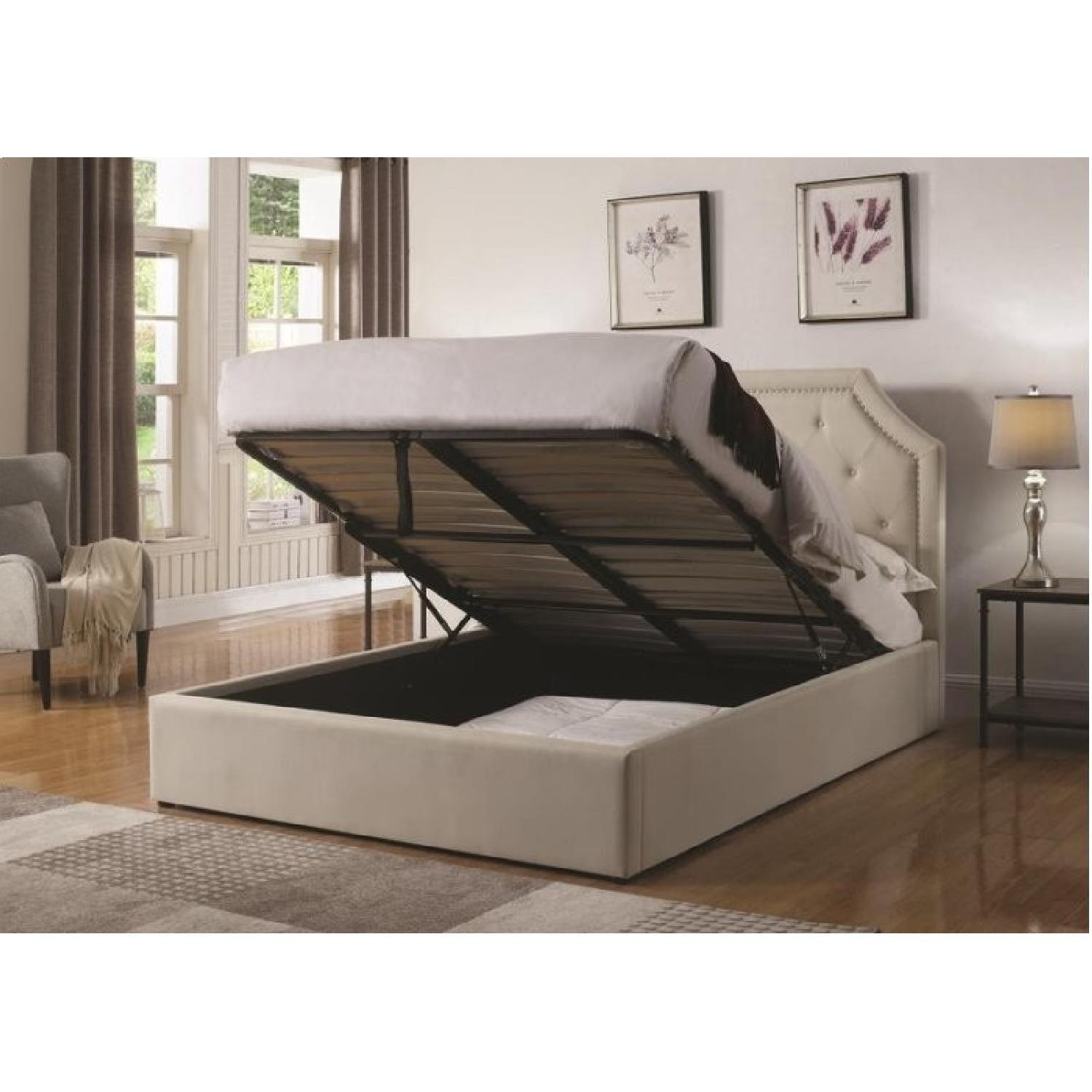 King Size Bed in Beige Fabric Upholstery w/ Lift-Up Storage
