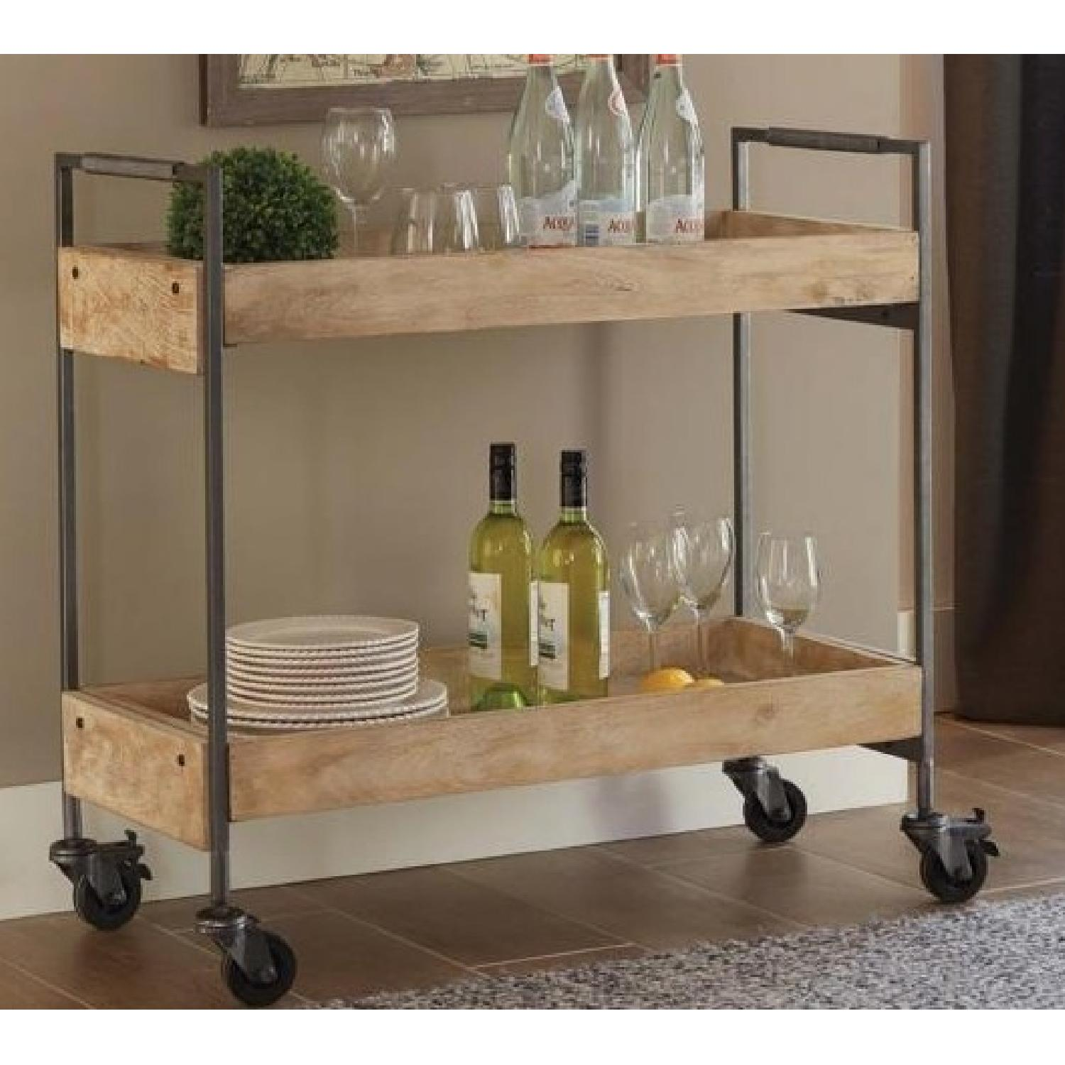 Industrial Style Kitchen/Serving Cart in Mango Wood