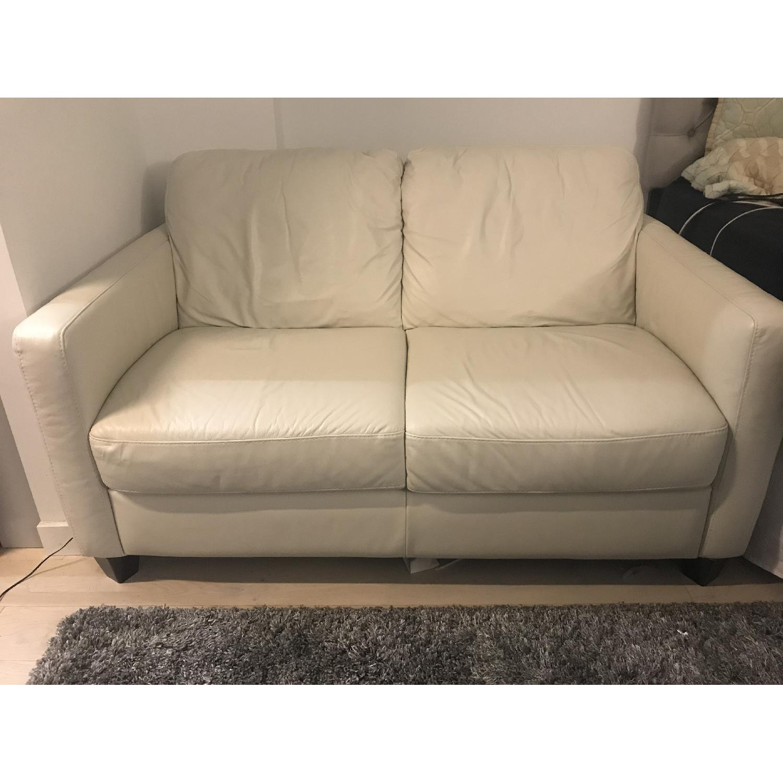 ... Macyu0027s Off White Leather Loveseat 1 ...