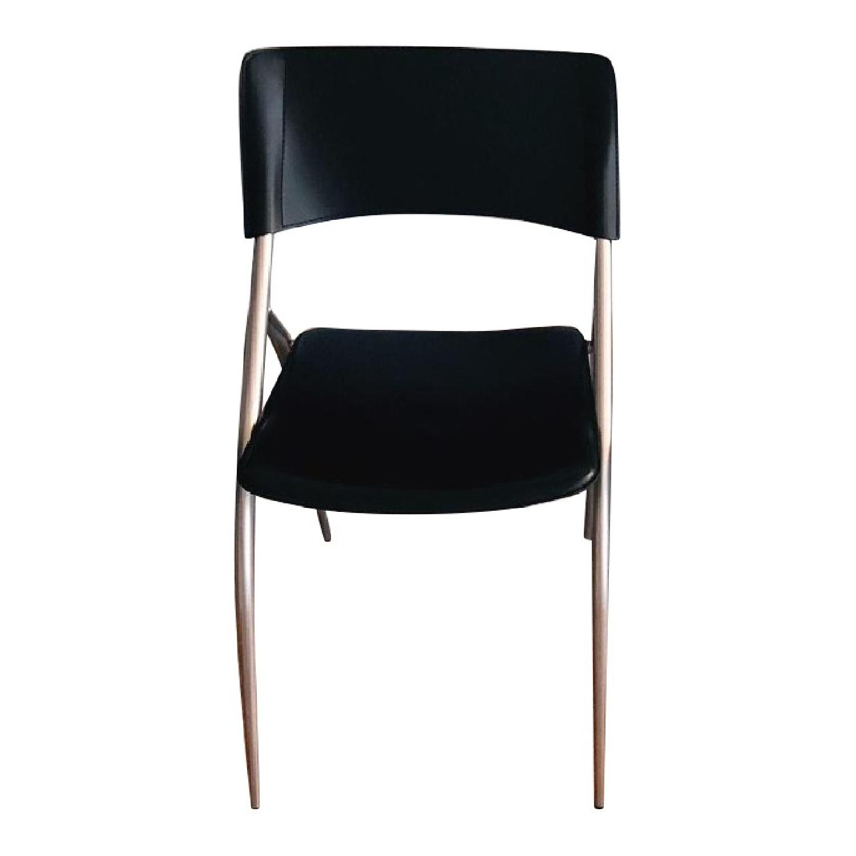 Calligaris Black Leather Metal Dining Chairs Aptdeco