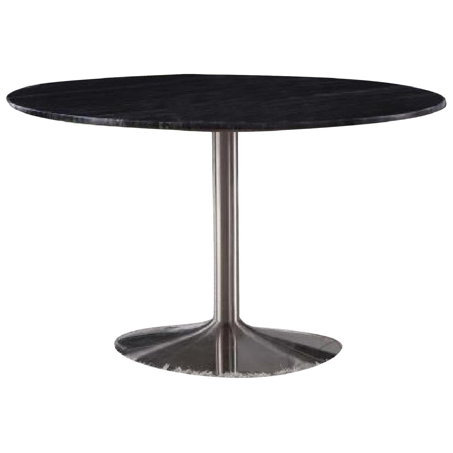 Modern Dining Table w/ Black Marble Top & Nickel Base