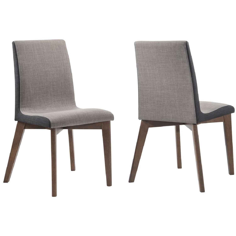 Modern Dining Chair w/ 2-Tone Fabric & Walnut Finish Legs