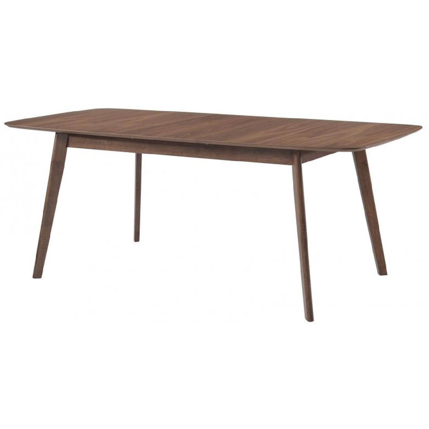 Mid Century Style Expandable Dining Table in Walnut Finish