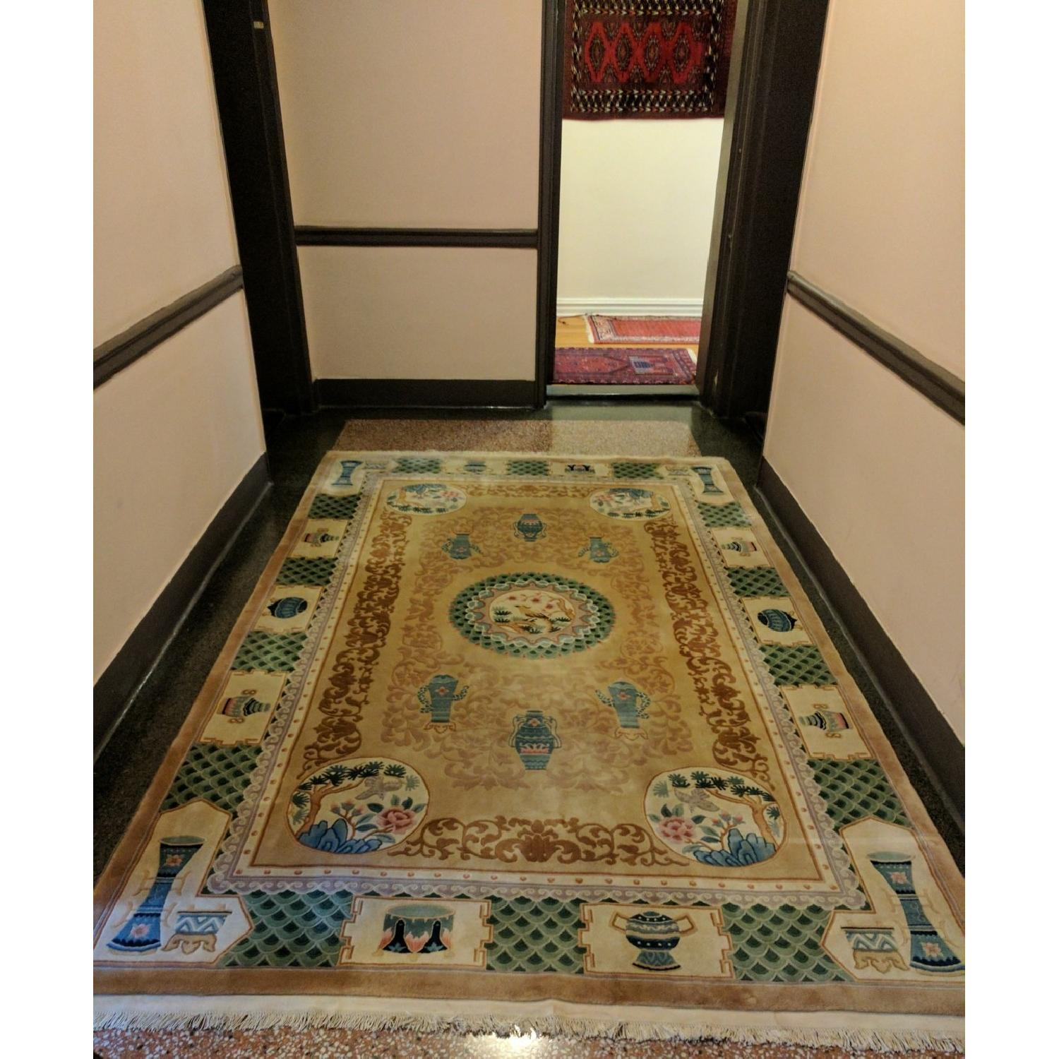 Hand-Woven Wool Area Rug w/ Chinese Motif