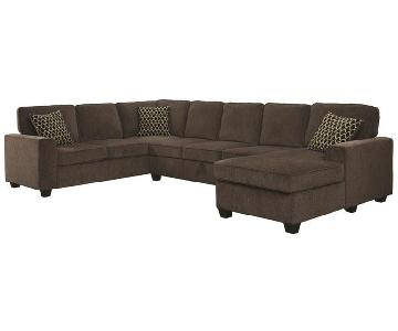 U Sectional Sofa w/ Storage in Brown Chenille Fabric