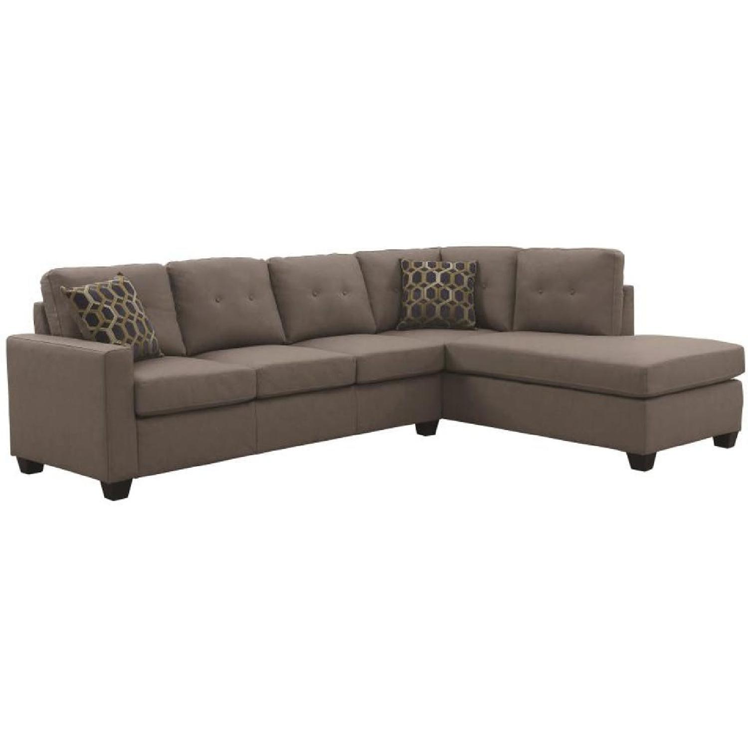 Sectional in Brown Leatherette w/ Reversible Chaise