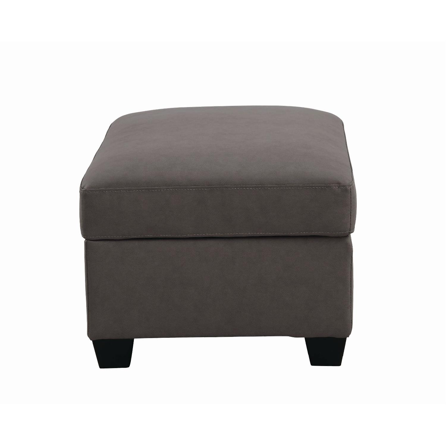 Storage Ottoman in Brown Leatherette