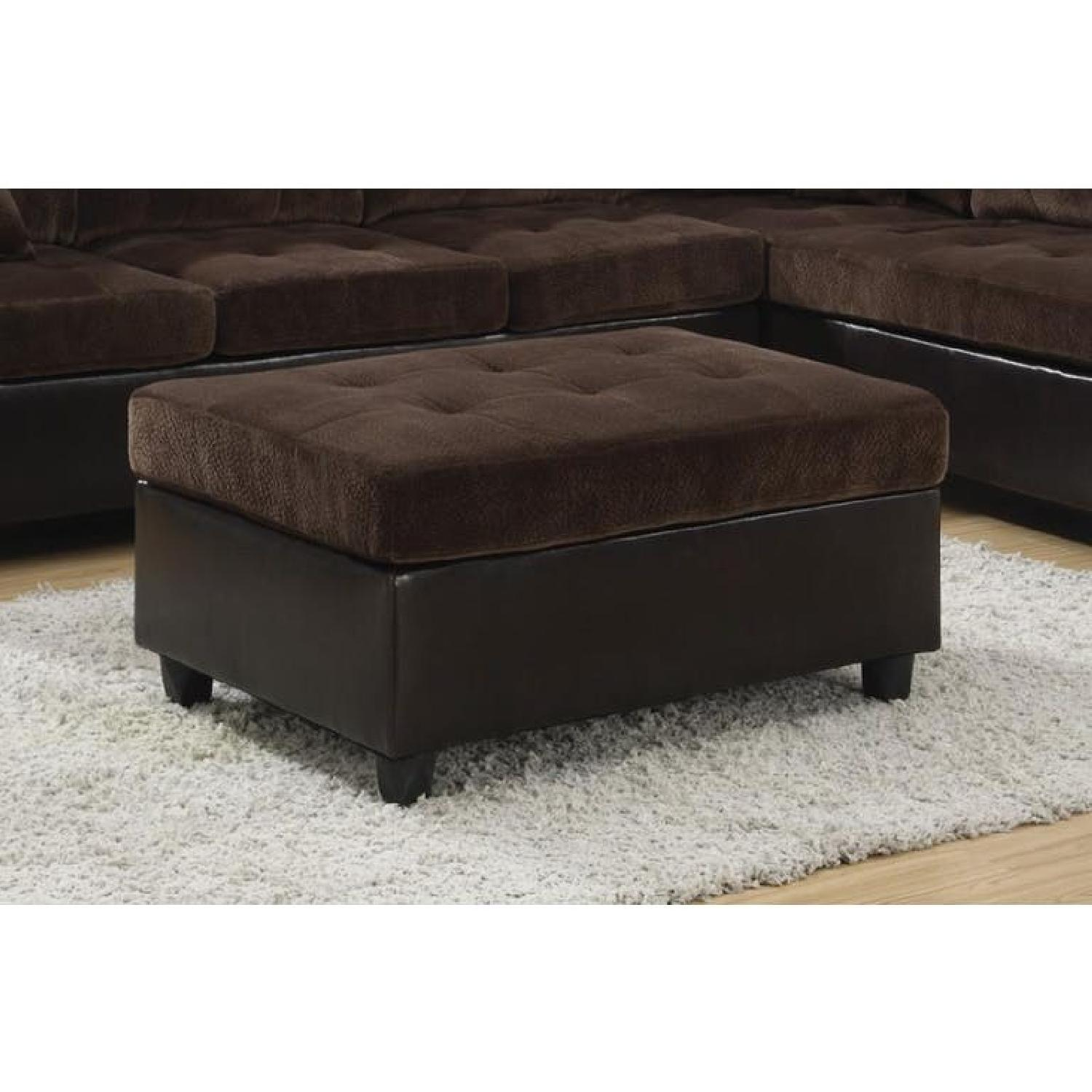 Ottoman in Dark Brown Fabric w/ Leatherette Base