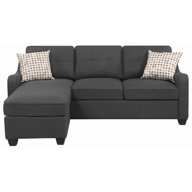Reversible Sectional Sofa in Dark Grey Linen-Like Fabric