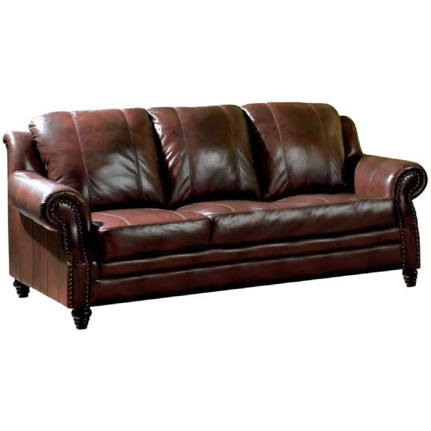 Sofa in Burgundy Leather Match w/ Nailhead Accent