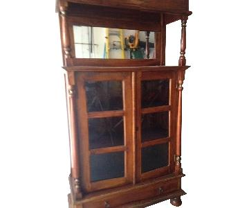 Rustic Wood w/ Glass Doors Bookcase/Cabinet