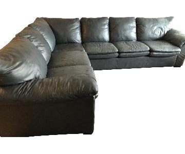Grey Leather 3-Piece Sectional Sofa