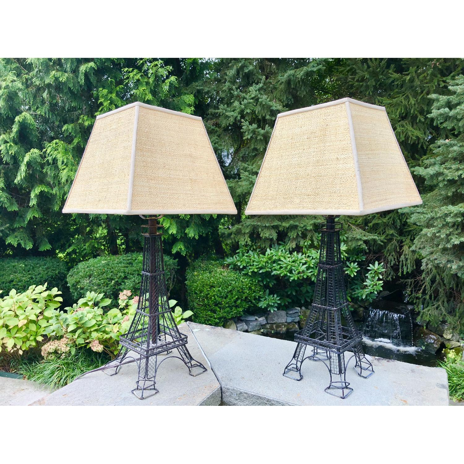Eiffel Tower Lamps w/ Woven Shades
