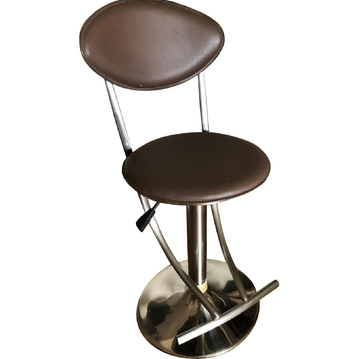 Macyu0027s Taupe Leather Adjustable Height Bar Stools ...