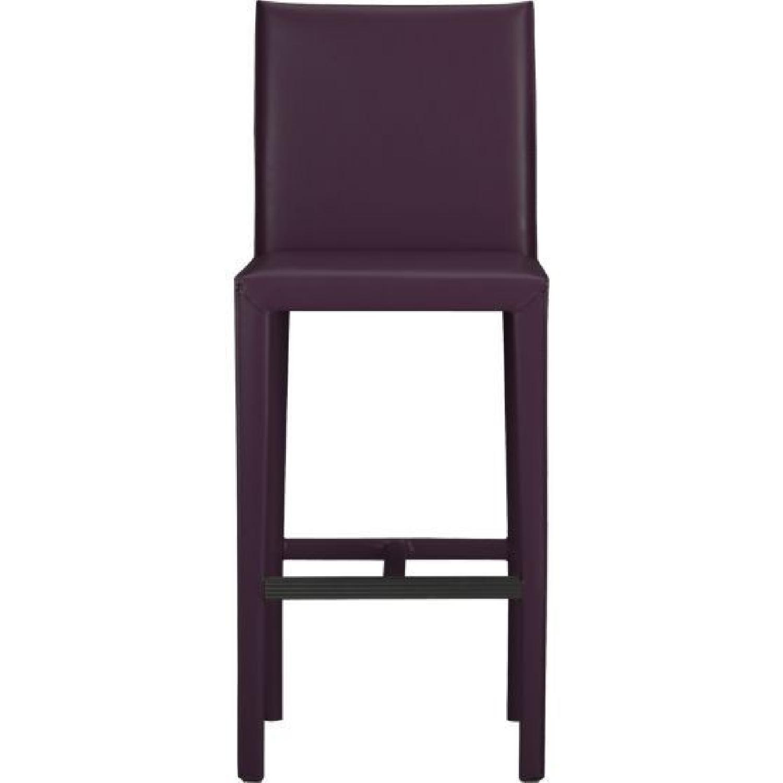 Crate & Barrel Folio Leather Bar Stools in Dark Purple