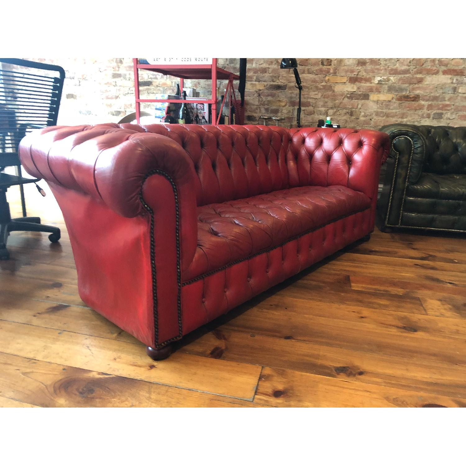 1950s Art Deco Chesterfield Tufted Red Leather Sofa - AptDeco