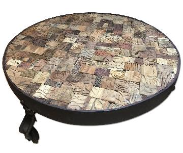 A&G Merch Wood & Iron Round Coffee Table