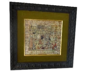 Tapestry Lithograph in Wood & Velvet Frame