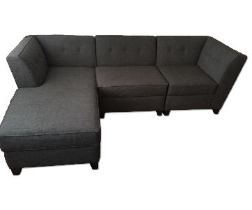 Macy's Harper Fabric 3 Piece Modular Chaise Sectional Sofa