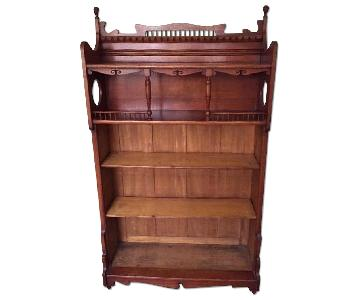 Vintage Victorian Bookcase w/ Gallery Top
