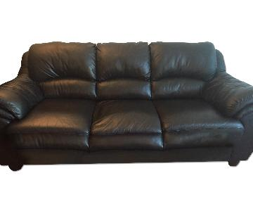 Raymour & Flanigan Black Faux-Leather Sofa