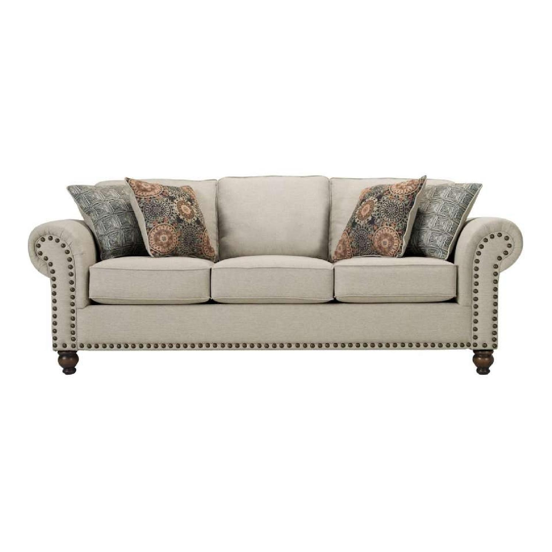 Raymour U0026 Flanigan Grey Studded Sofa ...