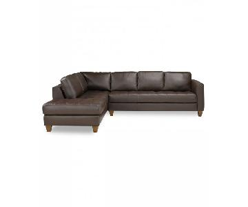 Macy's Milano Brown Leather 2 Piece Sectional Sofa