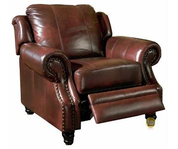 Push-Back Recliner Chair in Burgundy Leather Match