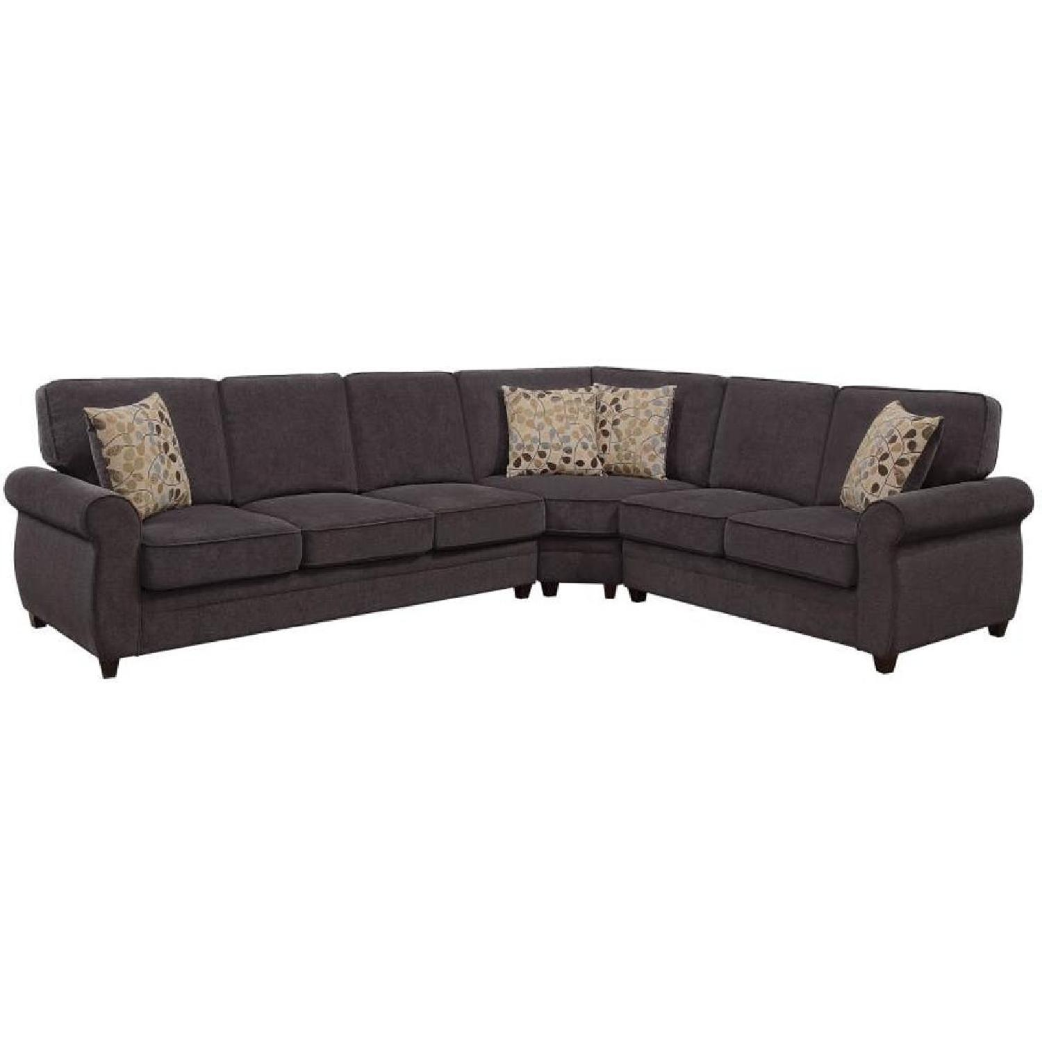 Attractive Sleeper Sectional Sofa In Brown Fabric W/ Memory Foam Pad ...