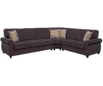 Sleeper Sectional Sofa in Brown Fabric w/ Memory Foam Pad